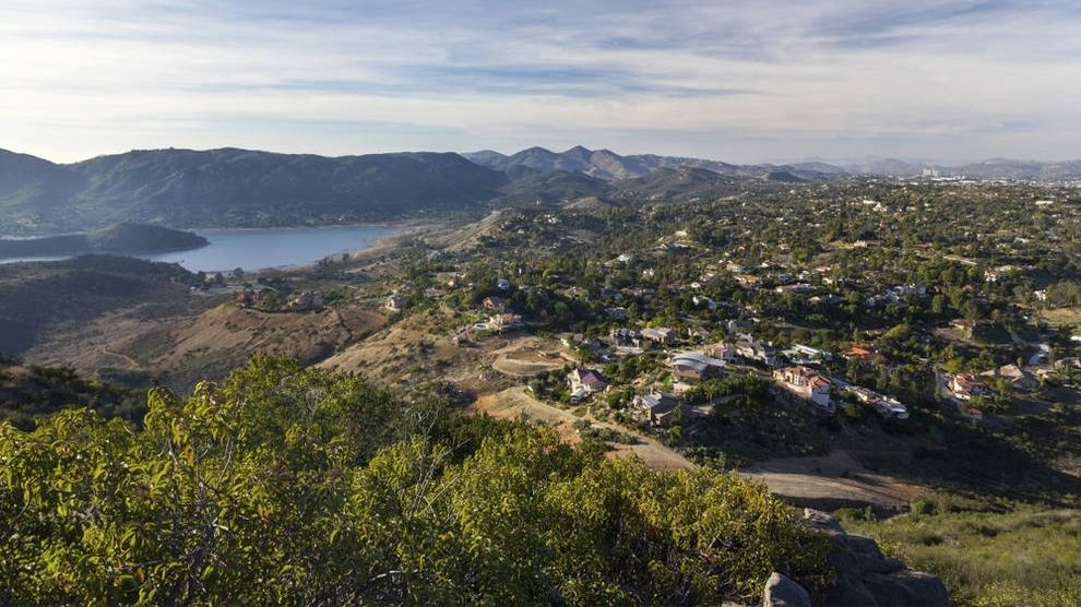 Aerial view of Lake Hodges from Poway